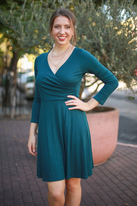 Fit to Flare Forest Green Long Sleeve Wrap Dress front view.