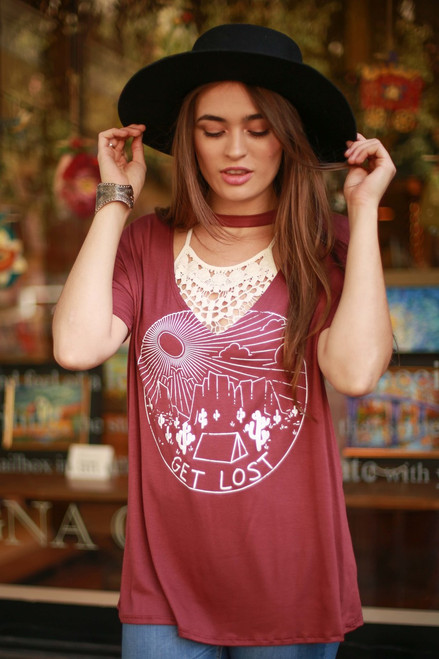 Get Lost Rust Cut Out Graphic Top front view.
