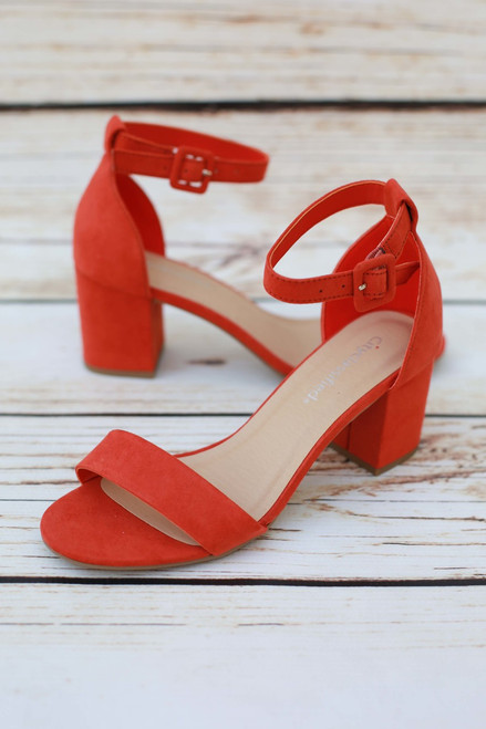 Clementine Open Toe Orange Heels with Ankle Strap