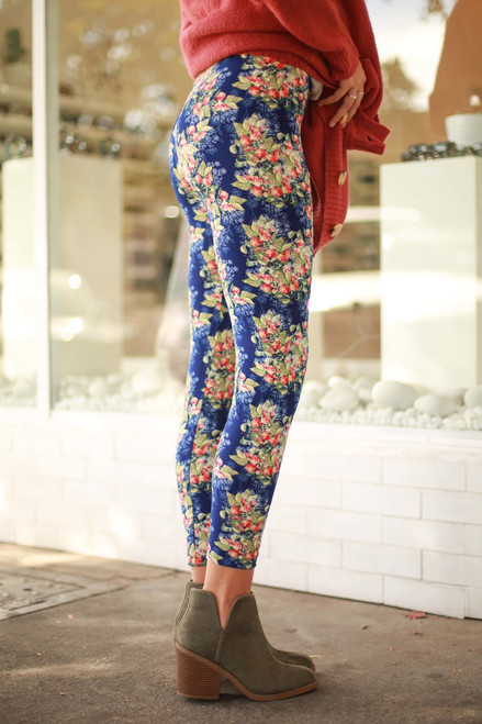Blue Berry Bouquet Floral Printed Butter Soft Leggings side view.