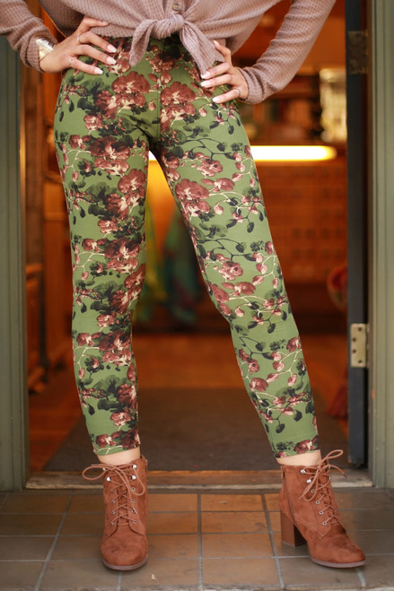 Curvy Olive Floral Branch Printed Butter Soft Leggings front view.