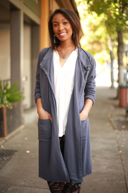 Sleek in Slate Long Sleeve Terry Knit Maxi Coat front view.