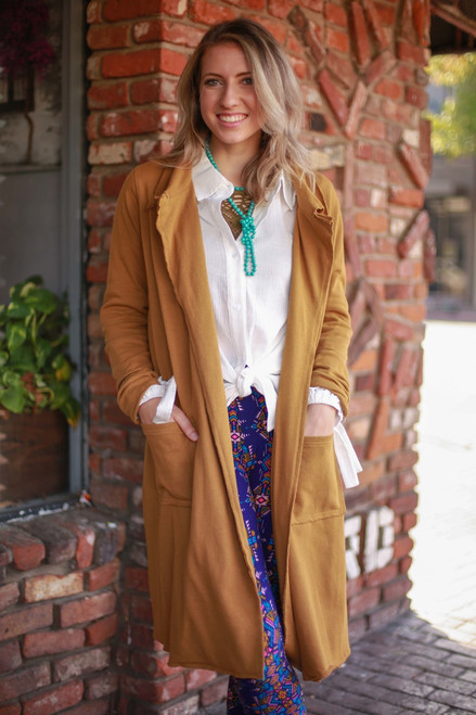 Sleek in Gold Long Sleeve Terry Knit Maxi Coat front view.