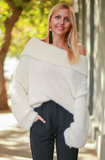 Snow Bunny Soft Off Shoulder Top full body front view.