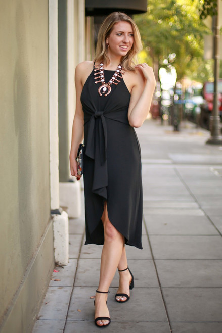 Guilty Pleasures Front Tie Black Midi Dress full body front view.