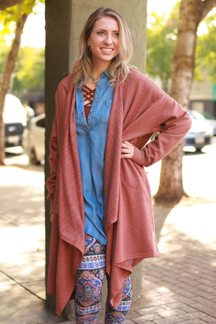 The Good Life Spicy Rust Long Sleeve Maxi Coat front view.