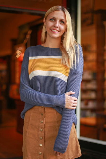 Old School Days Slate and Mustard Color Block Knit Sweater front view.