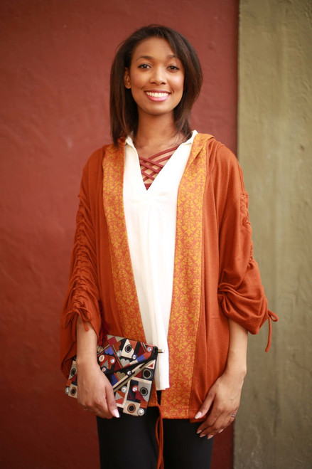 Fall Empowered Spicy Rust Hacci Knit Kimono with Hood front view.