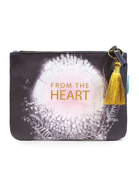 Papaya From the Heart Pocket Clutch