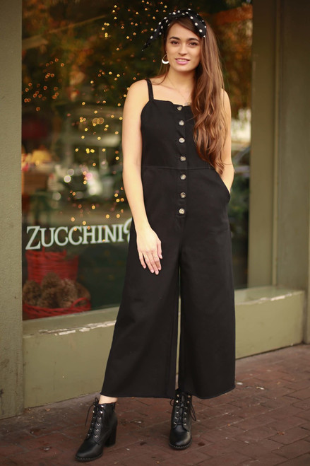 Black Madness Overall Button Down Jumpsuit with Pockets front view.