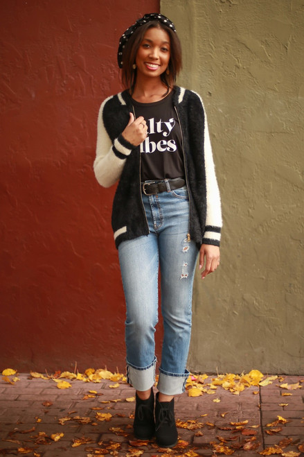 Block It Likes It's Hot Black and White Fuzzy Bomber Jacket full body front view.