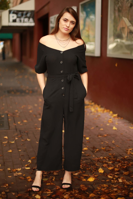 Sass and Class Black Button Down Jumpsuit with Pockets front view.