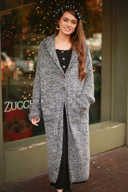 Queen of Comfort Charcoal Long Sleeve Cardigan front view.