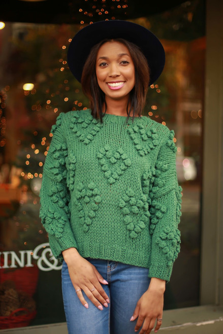 Pom Pom Love Green Knit Sweater front view.