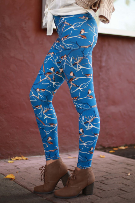 Brisk Blue Winter Super High Waist Butter Soft Leggings side view.
