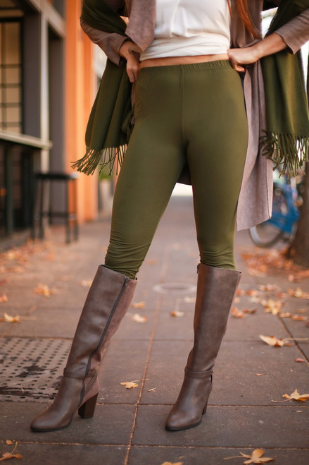 Simple Perfection Olive Butter Soft Leggings front view.