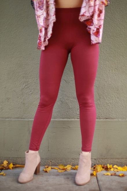 Simple Perfection Burgundy Butter Soft Leggings front view.