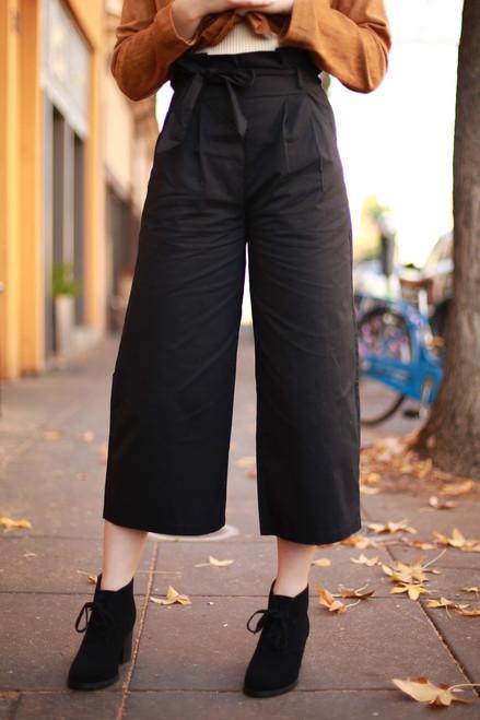 Office Trend Black Capri Wide Leg Trousers front view.