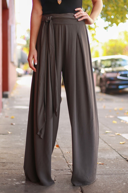 Power Play Charcoal Palazzo Pants front view.