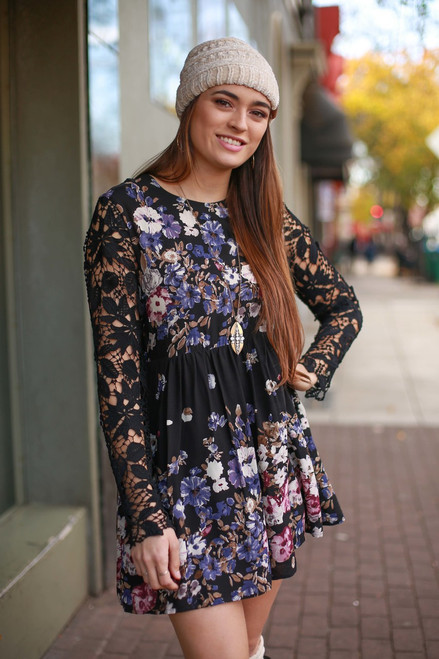 All Things Lovely Black Floral Print Dress front view.