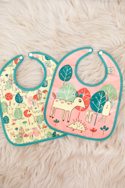 Sugarbooger Baby Deer Mini Bib Gift Set of Two flat view.
