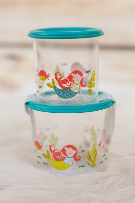 Sugarbooger Isla the Mermaid Set of Two Large Snack Containers stacked view.