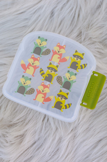 Sugarbooger What did the Fox Eat Good Lunch Sandwich Box flat front view (popped open).