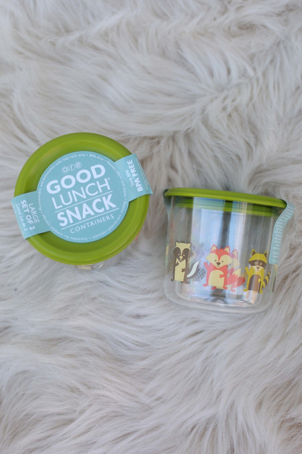 Sugarbooger What did the Fox Eat Set of Two Large Snack Containers double top and side views.
