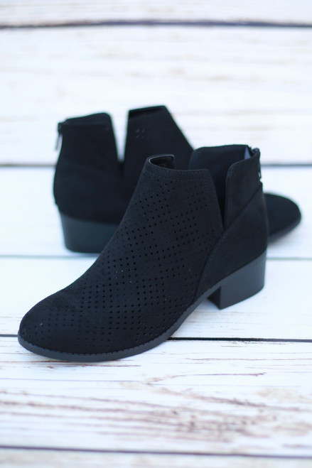 Magdalena Black Perforated Ankle Booties