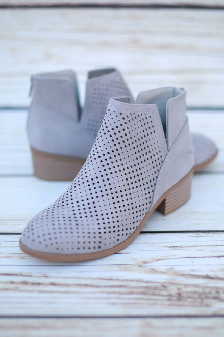 Magdalena Light Gray Perforated Ankle Booties