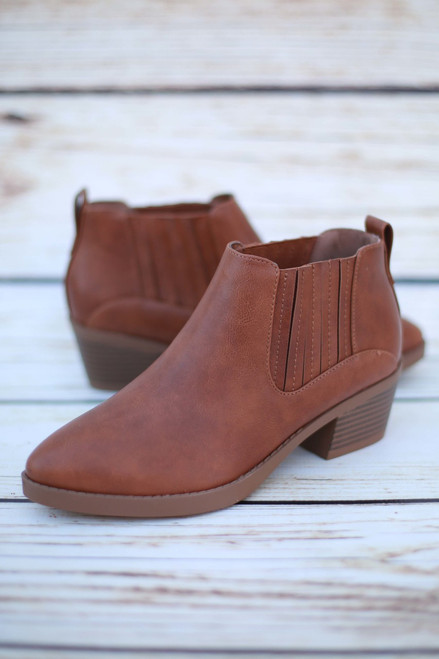 Delilah Tan Ankle Booties