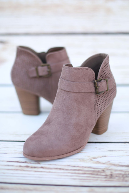 Julia Taupe Perforated Suede Booties