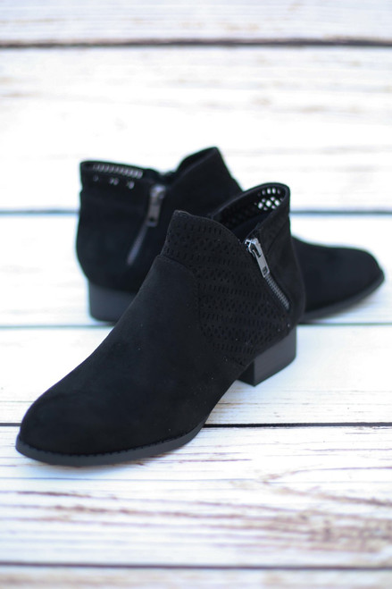 Brenda Black Perforated Ankle Booties