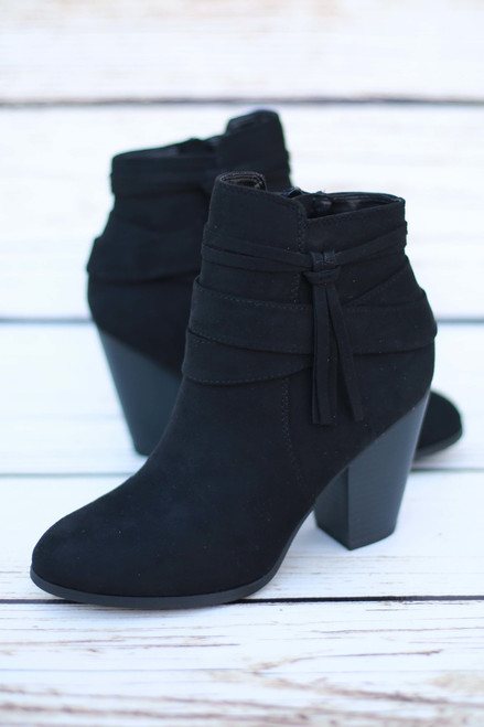 Bailey Black Suede Booties with Tassel
