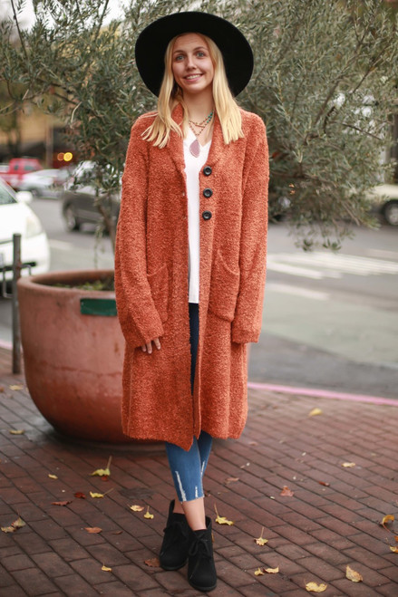 Queen of Comfort Burnt Orange Long Sleeve Cardigan full body front view.