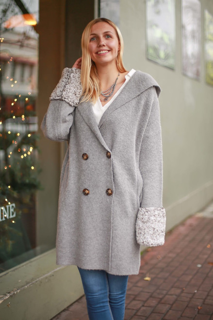Plush Life Ash Knitted Long Sleeve Cardigan front view.