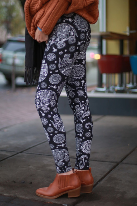 Elephant Outline Black and White Printed Super High Waist Butter Soft Leggings side view.
