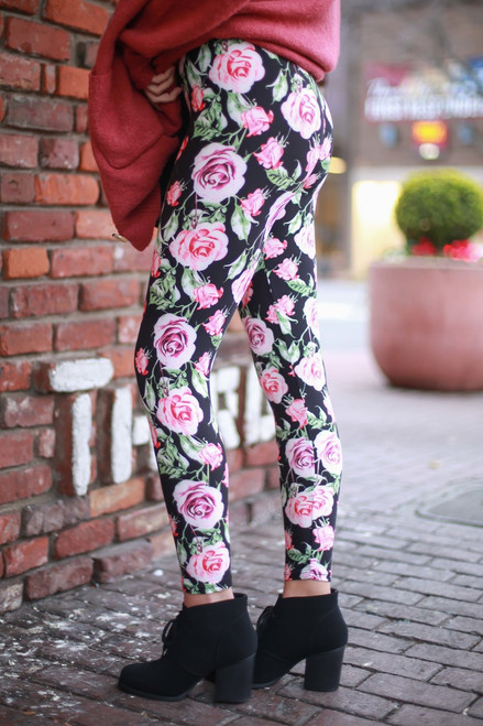 Graphic Roses Floral Printed Butter Soft Leggings side view.
