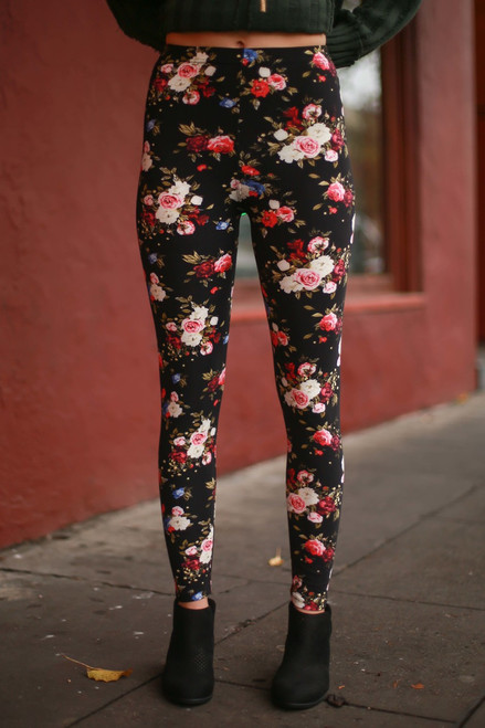 Teacup Roses Floral Printed Butter Soft Leggings front view.