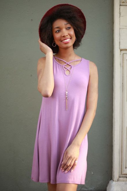 Mauve Squad Strappy Sleeveless Tent Dress front view.
