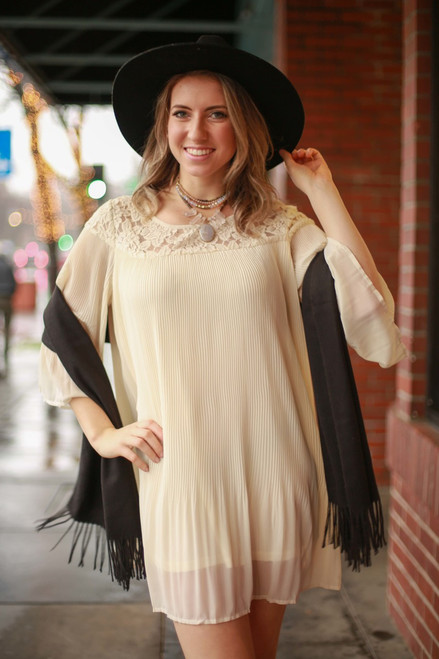 Perfectly Natural Long Sleeve Lace Pleated Dress front view.