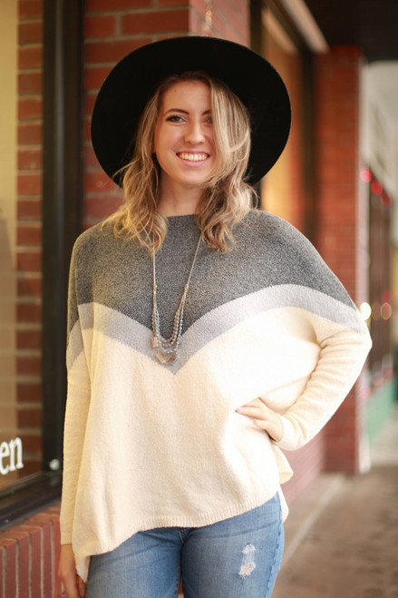 Cool in Chevron Heather Gray Knit Sweater Top front view.