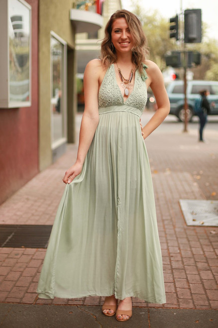 Summer Evenings Seafoam Crochet Lace Maxi Dress front view.