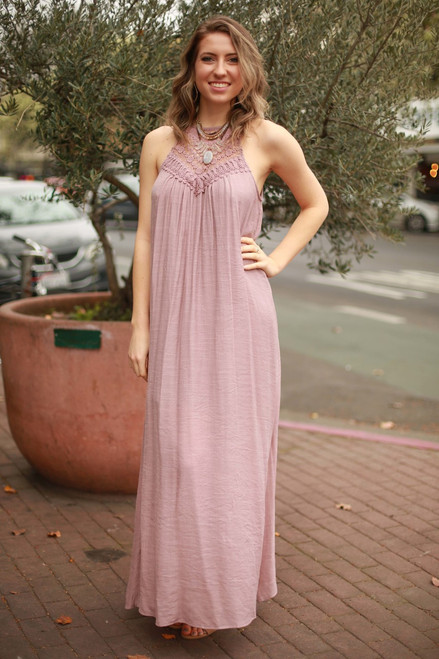 Great Escape Mauve Crochet Lace Maxi Dress front view.