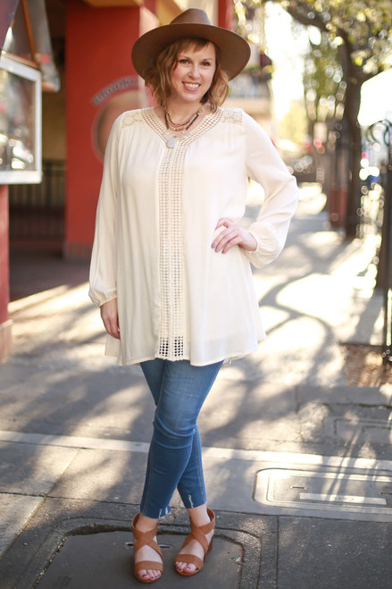 Natural Vibes Crochet Lace Long Sleeve Peasant Dress full body front view (large).