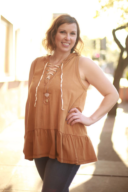 Laced Up in Camel Hooded Sleeveless Top front view.