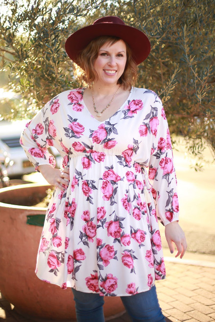 Rose Printed Wonder Floral Off White Babydoll Dress front view.