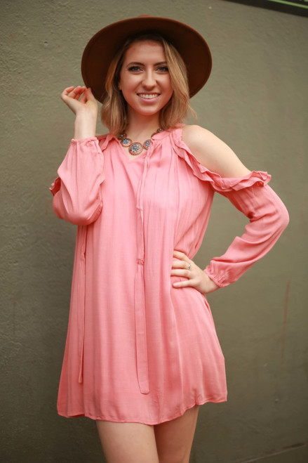 Peach Darling Ruffle Open Shoulder Dress front view.