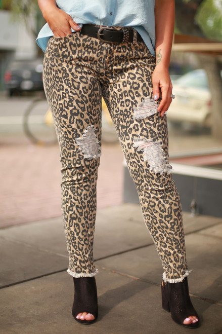 Love for Leopard Print Distressed Skinny Jeans front view (Small).