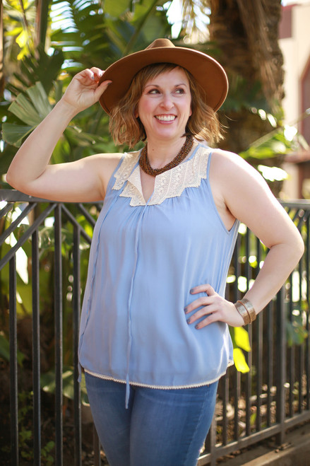 Lacey Darling Blue Sleeveless Blouse front view.